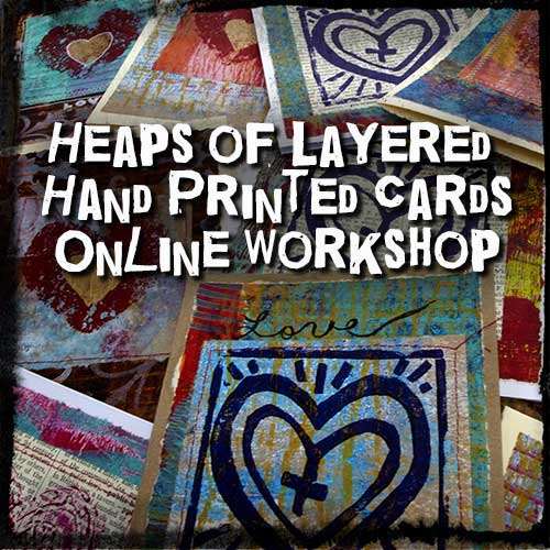 TraciBunkers.com - Heaps of Layered Hand Printed Cards Workshop