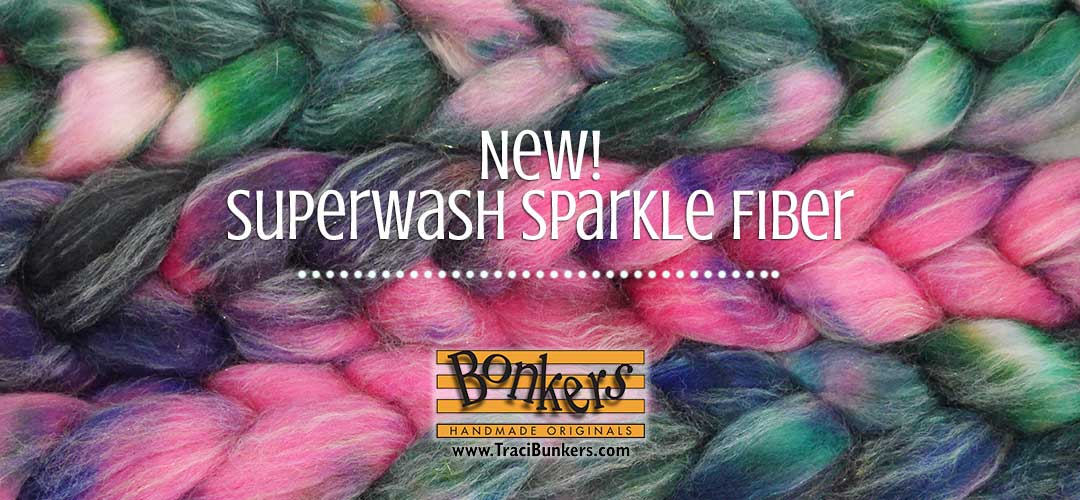 TraciBunkers.com - Hand-dyed Superwash Sparkle, shown in Downtown Carousel