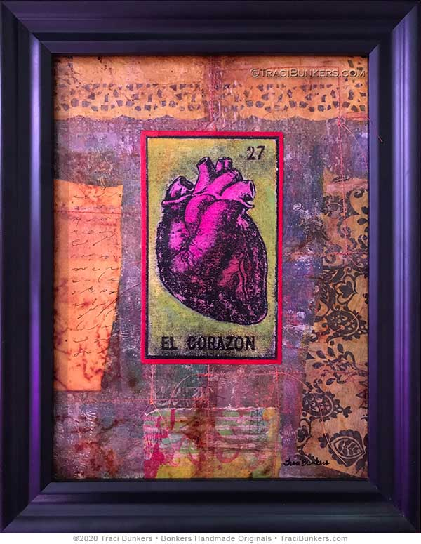 TraciBunkers.com - El Corazon mixed-media piece for Lawrence Arts Center benefit auction 2020