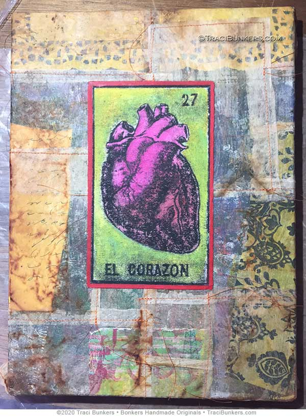 TraciBunkers.com - El Corazon mixed-media piece in progress, for Lawrence Arts Center benefit auction 2020